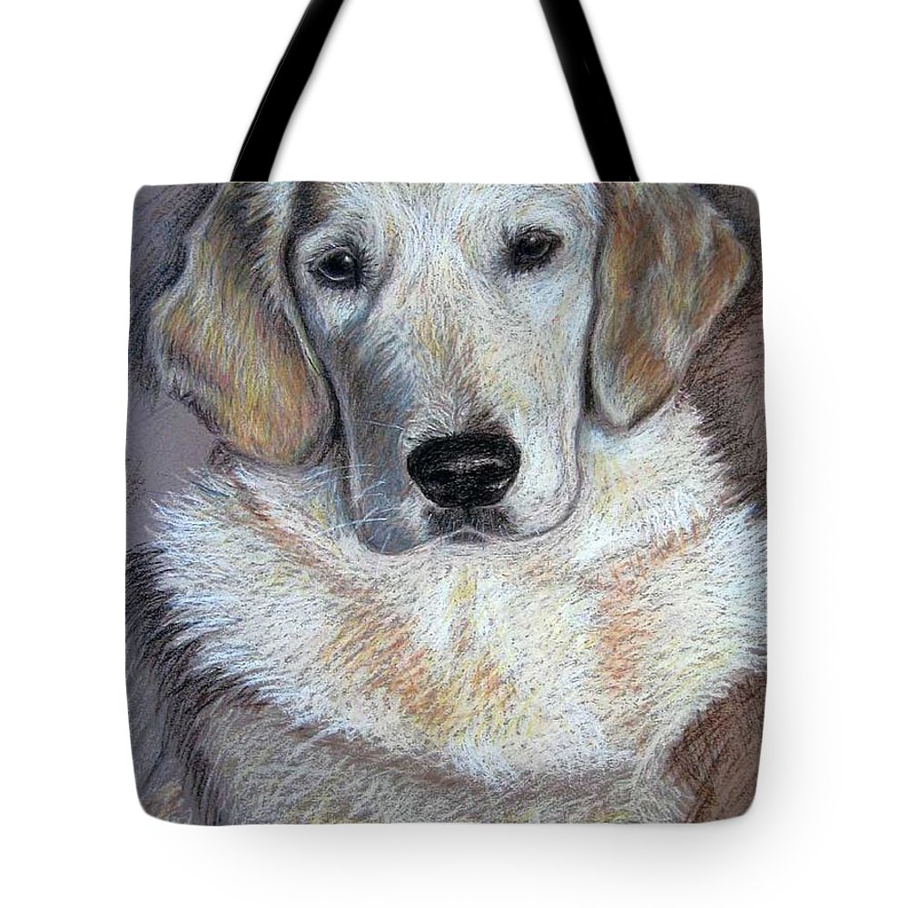 Dog Tote Bag featuring the pastel Young Golden Retriever by Nicole Zeug