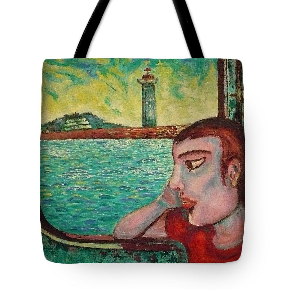 Window Tote Bag featuring the painting Young Man In A Window by Ericka Herazo