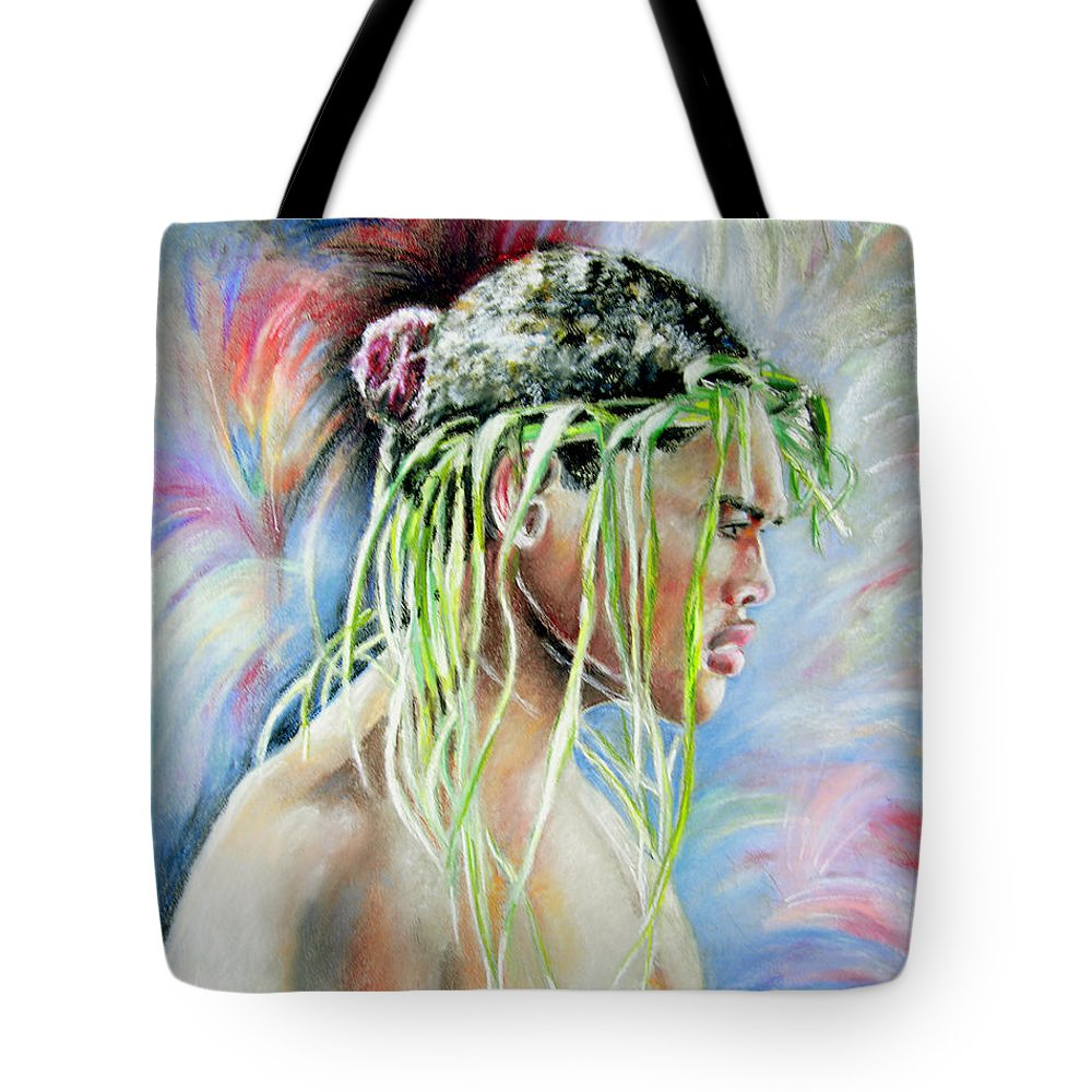 Maori Tote Bag featuring the painting Young Maori Warrior by Miki De Goodaboom