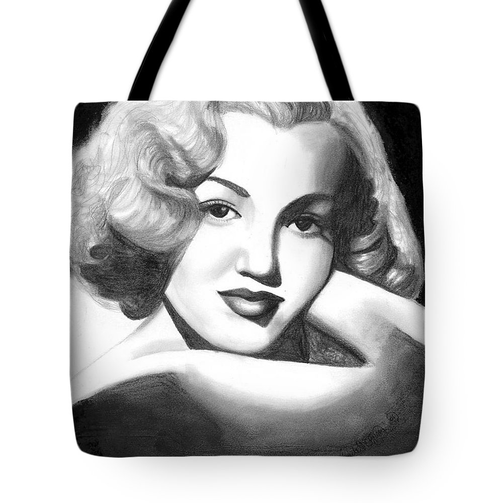 Portrait Tote Bag featuring the drawing Young Marilyn by Scarlett Royal