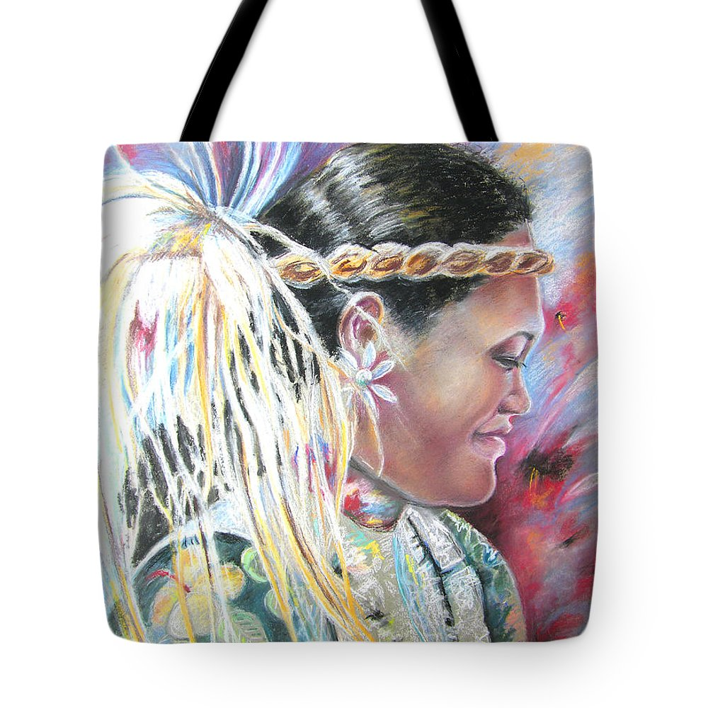 French Polynesia Tote Bag featuring the painting Young Polynesian Mama by Miki De Goodaboom