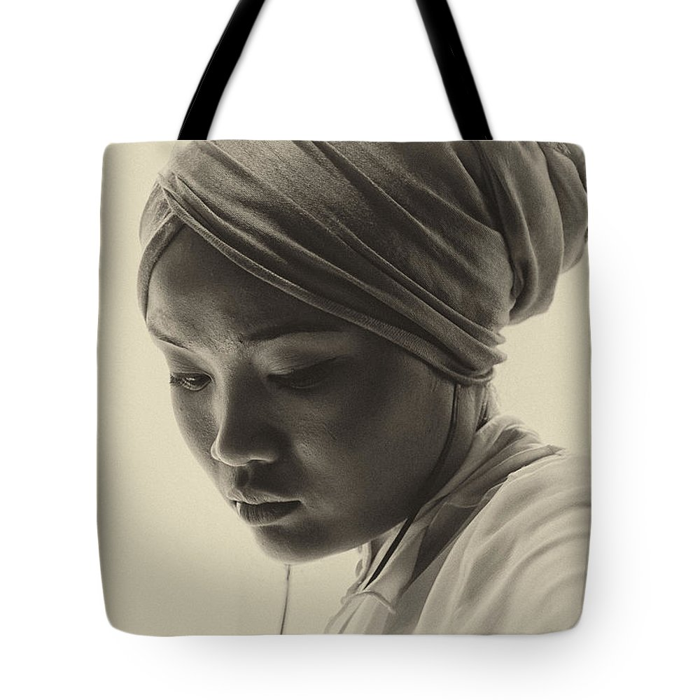 Young Woman Tote Bag featuring the photograph Young Woman In Turban by Sheila Smart Fine Art Photography