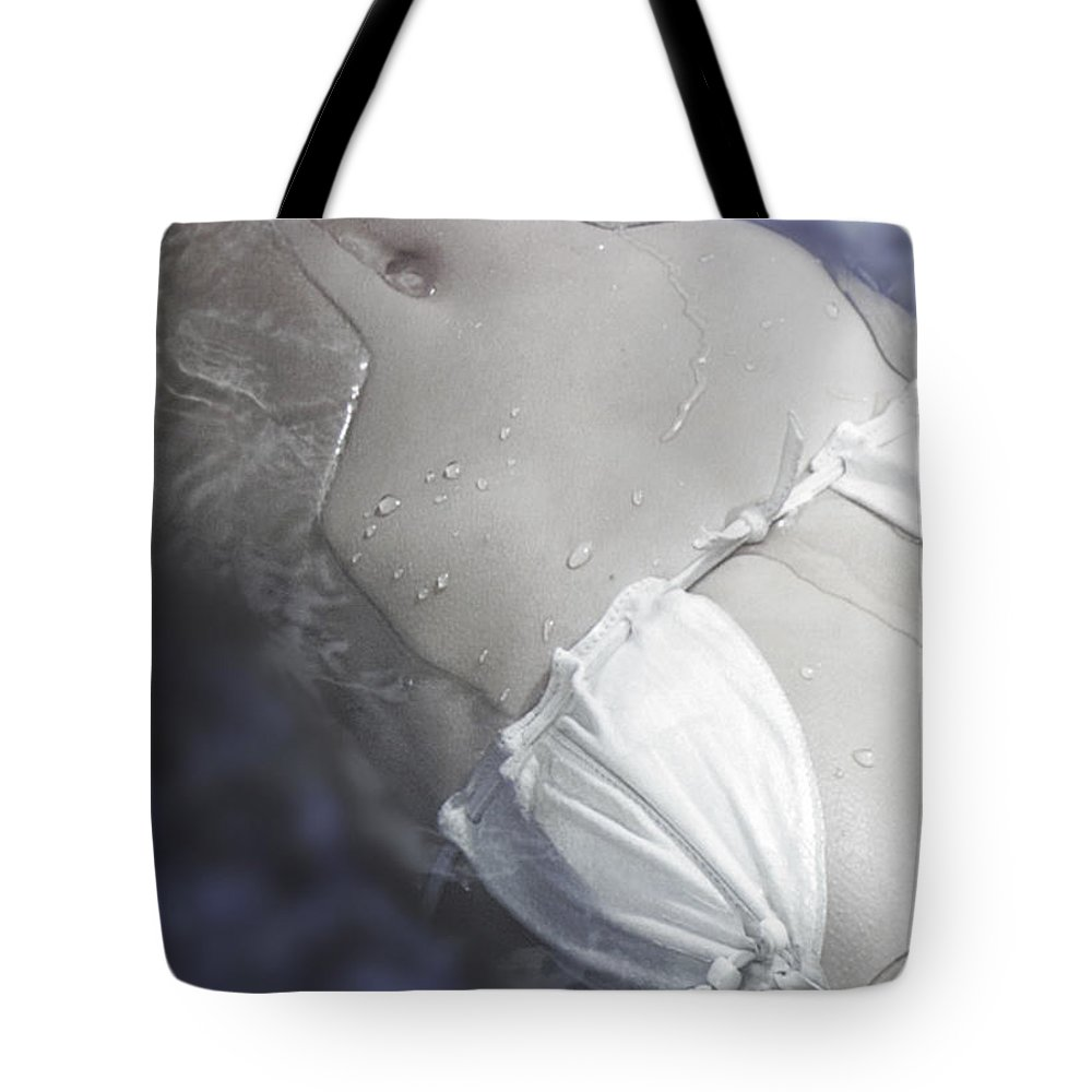 Female Tote Bag featuring the photograph Young Woman In Whirl Pool by Christine Till