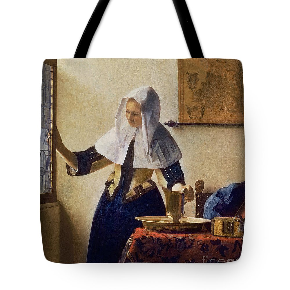 Young Tote Bag featuring the painting Young Woman With A Water Jug by Jan Vermeer