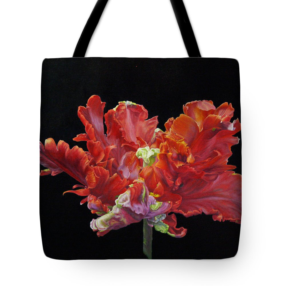 Roena King Tote Bag featuring the painting Youtube Video - Red Parrot Tulip by Roena King