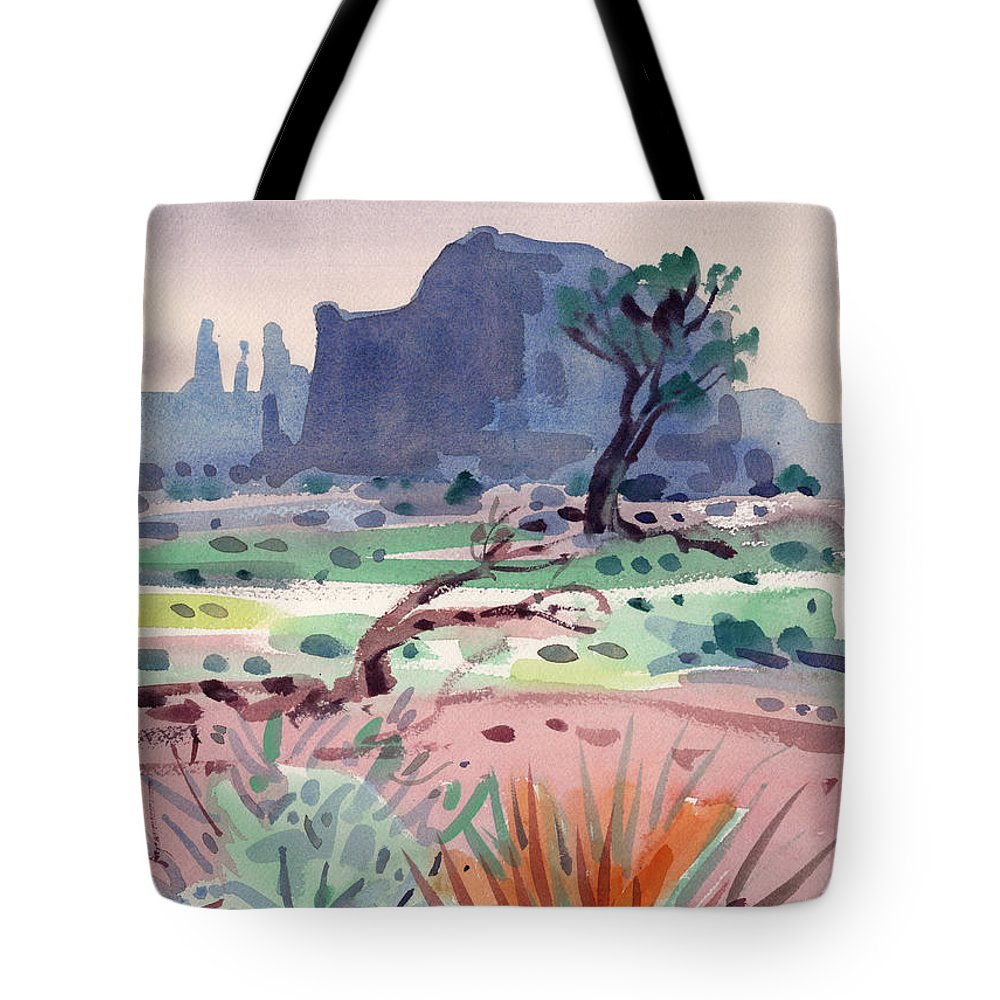 Monument Valley Tote Bag featuring the painting Yucca And Buttes by Donald Maier