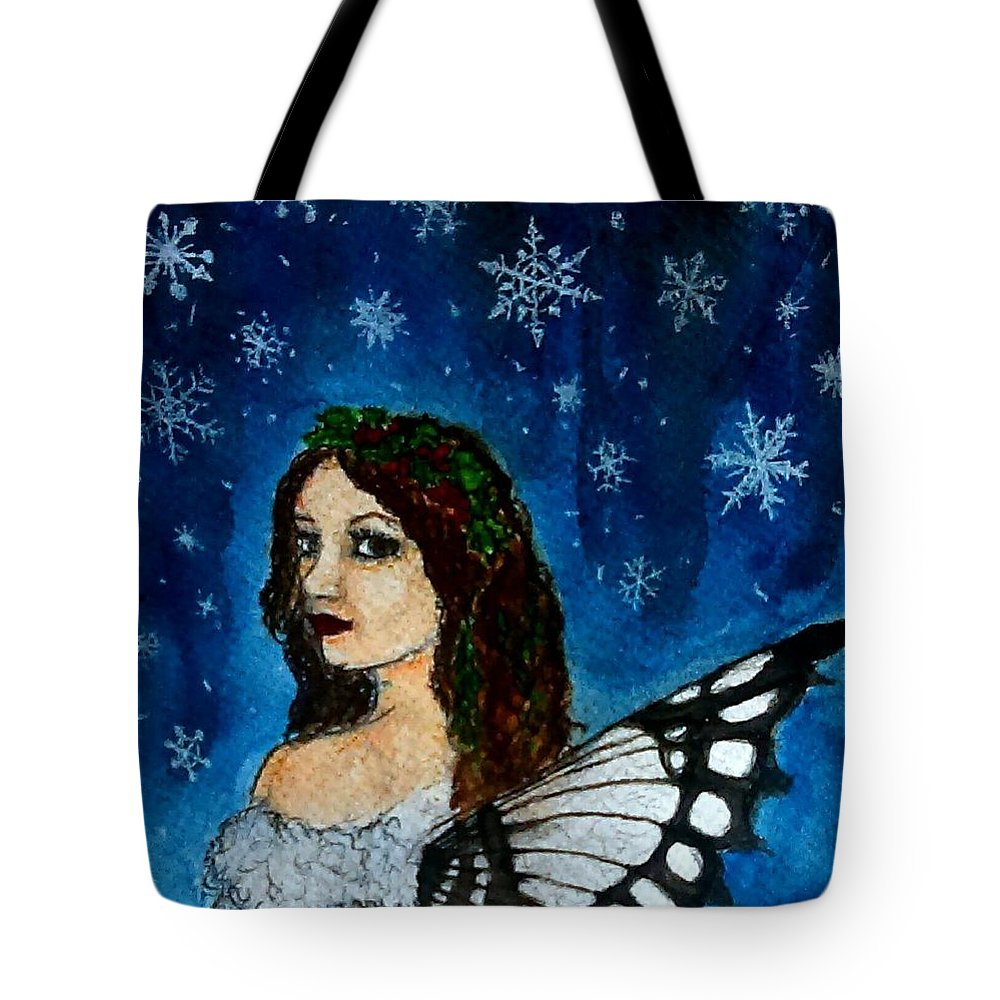 Winter Tote Bag featuring the painting Yuletide Fairy by Jennie Hallbrown