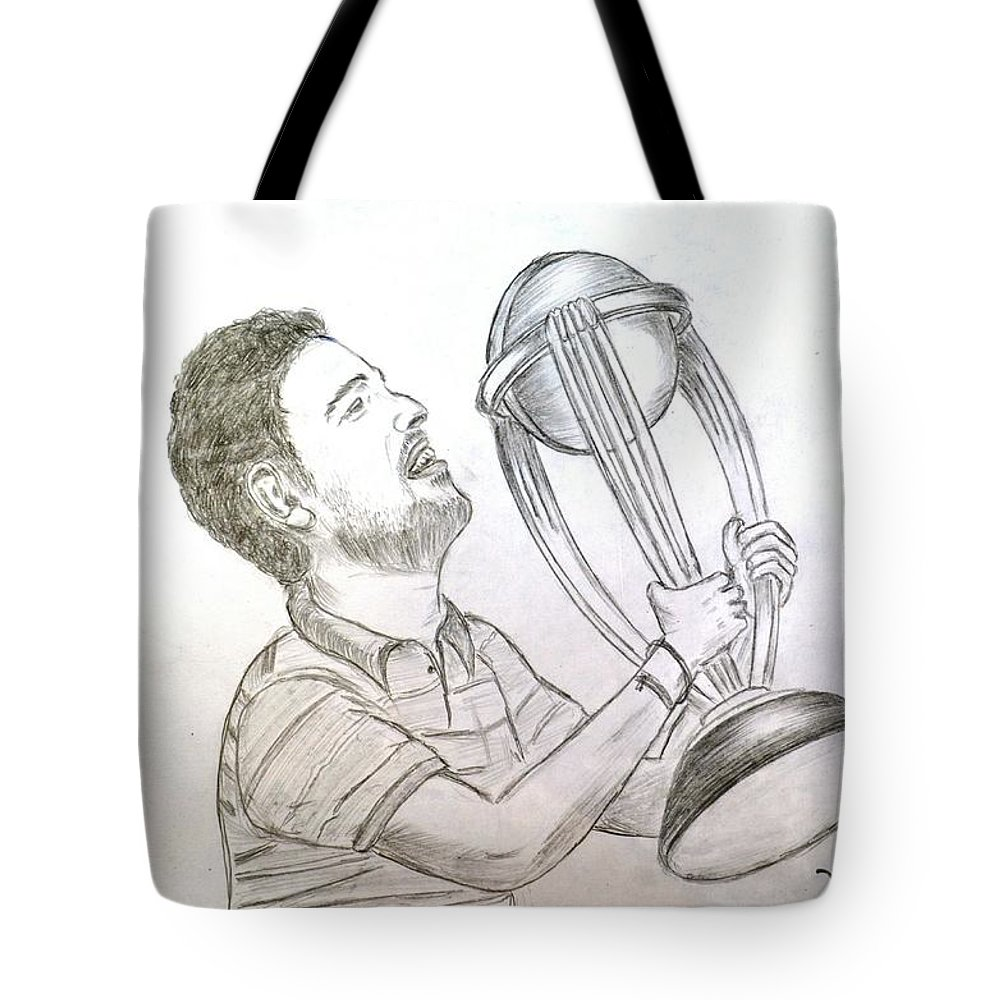 Yuvraj holding world cup tote bag featuring the drawing yuvraj singh by vishwas nagmode