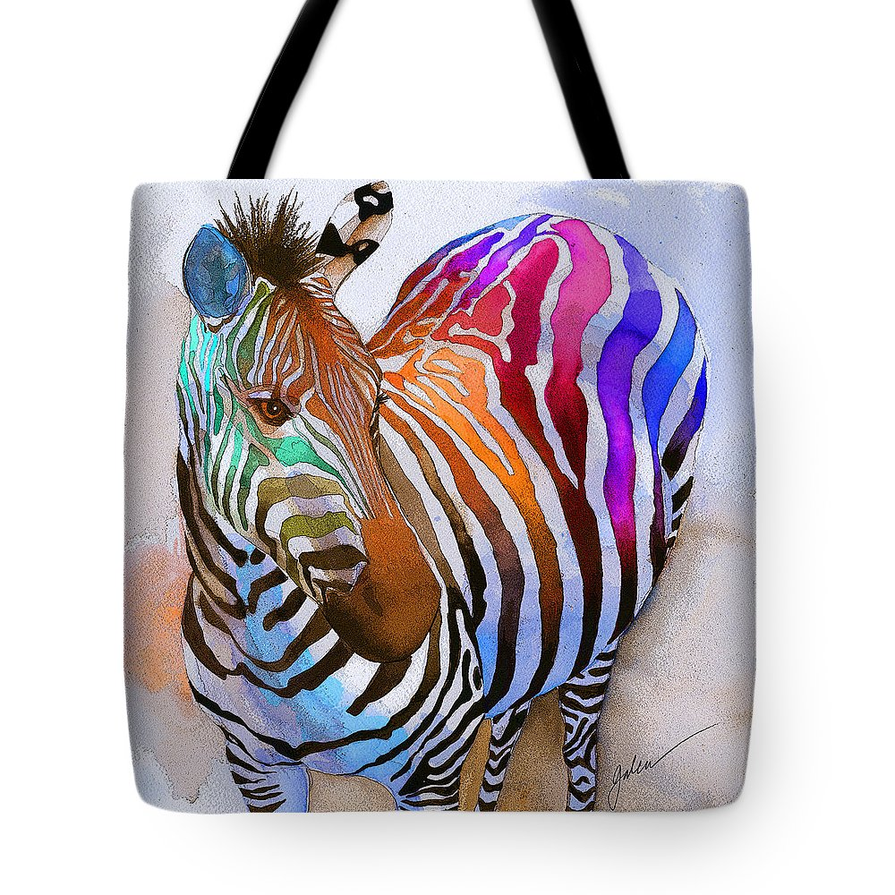 Colorful Tote Bag featuring the painting Zebra Dreams by Galen Hazelhofer