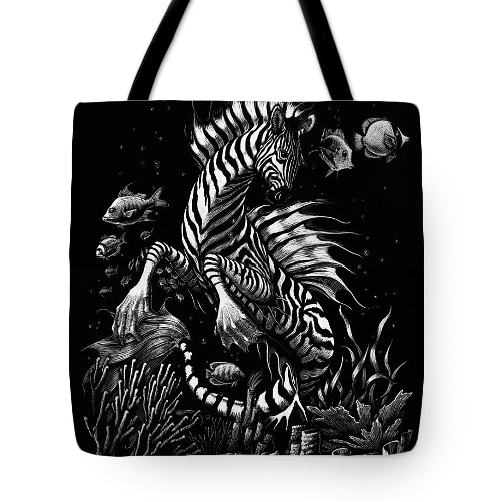 Seahorse Tote Bag featuring the drawing Zebra Hippocampus by Stanley Morrison