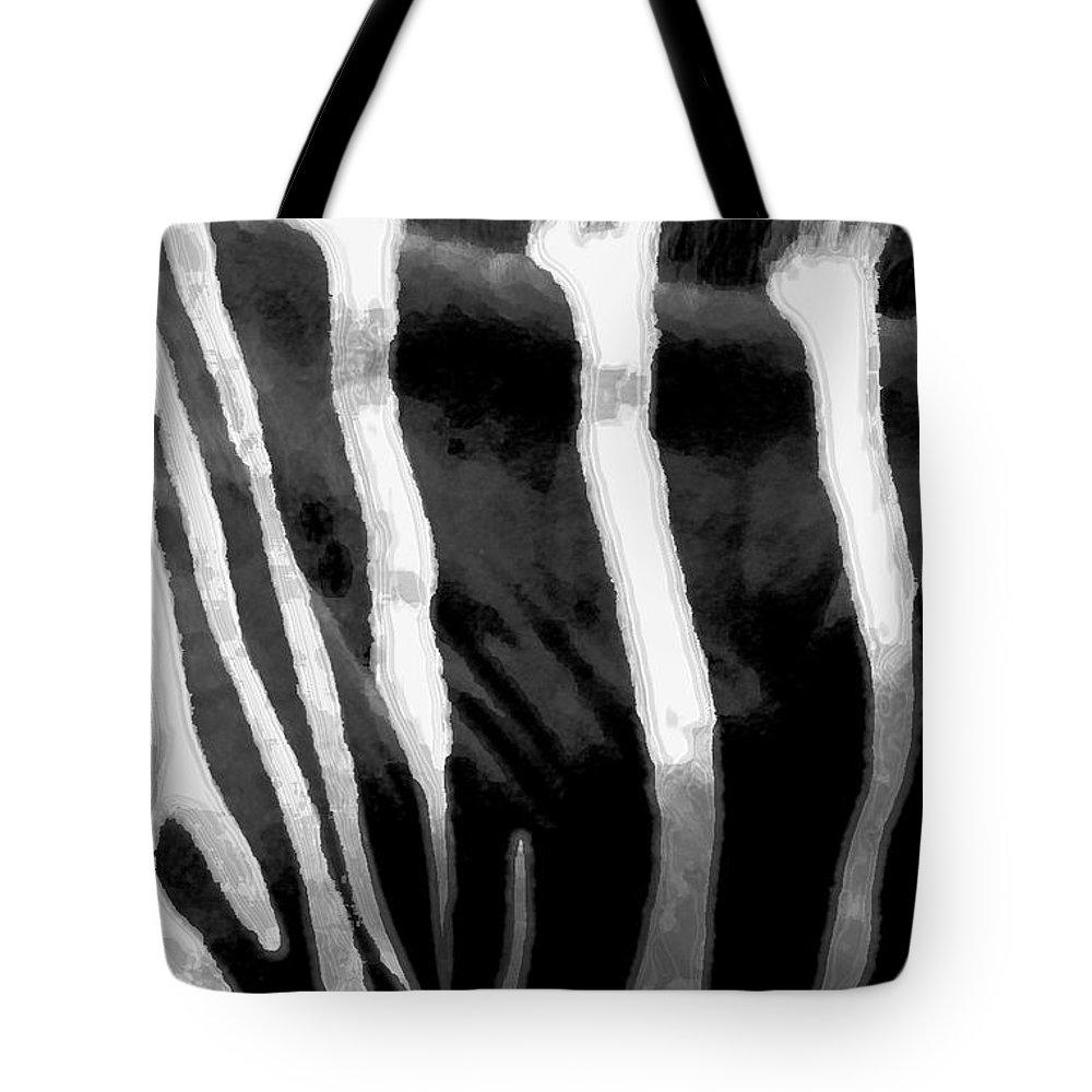 Zebra Art Tote Bag featuring the photograph Zebra Lines by Linda Sannuti