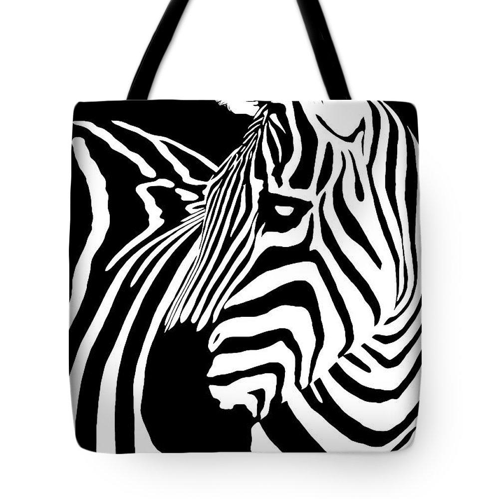 Zebra Tote Bag featuring the digital art Zebra Works by Janet Fikar