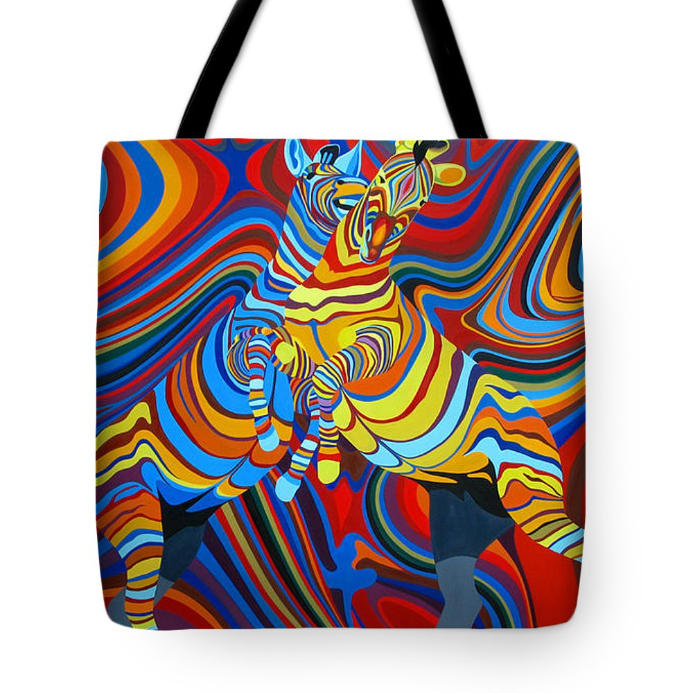 Zebra Tote Bag featuring the painting Zebradelic by Pascal Etienne Roy