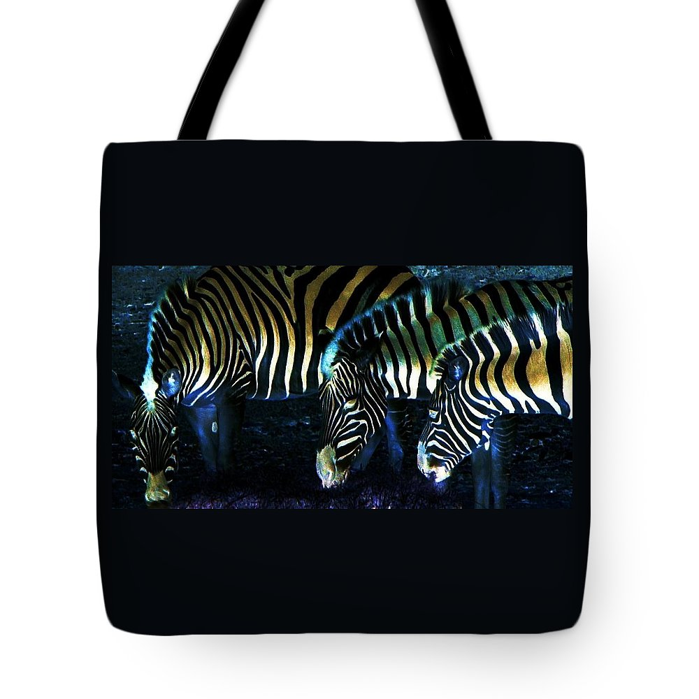 Zebra Tote Bag featuring the digital art Zebras Glow by Kenna Westerman