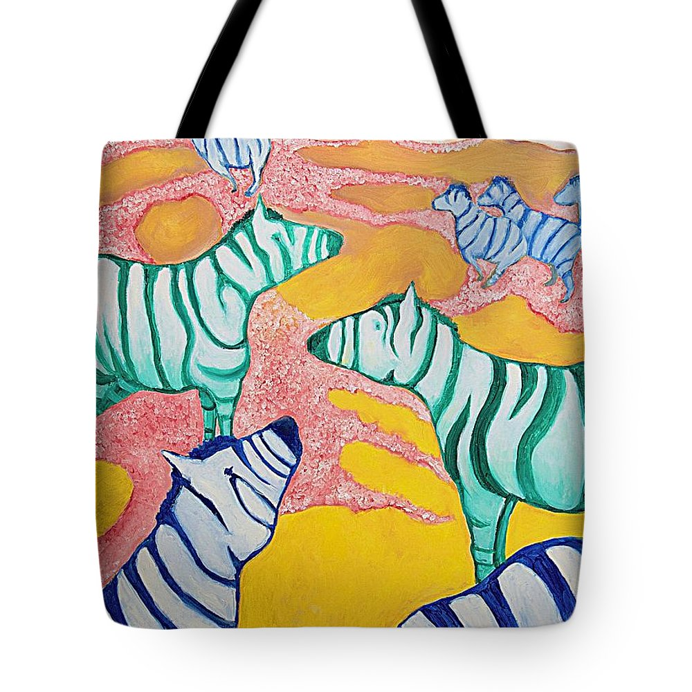 Abstract Tote Bag featuring the painting Zebras On The Plain by Zodiak Paredes