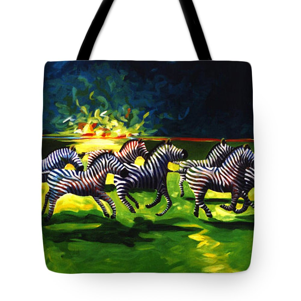 Modern Tote Bag featuring the painting Zebz by Lance Headlee