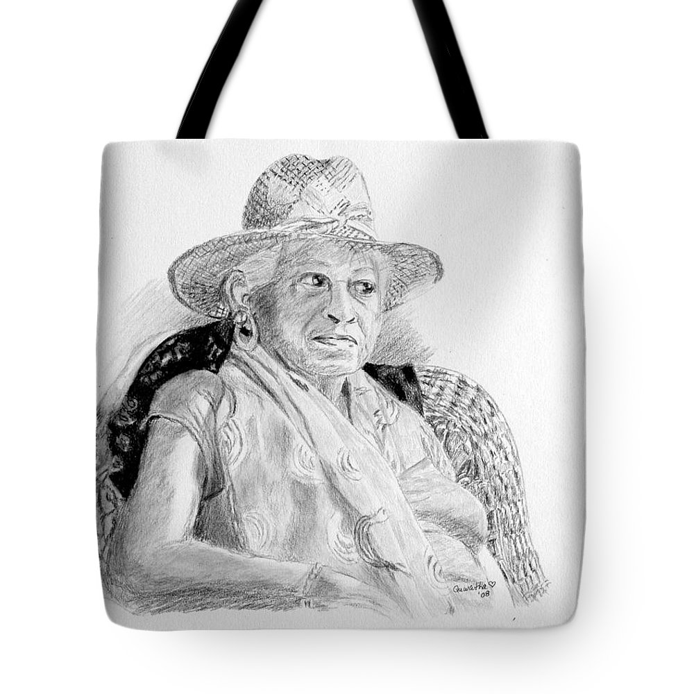 Portrait Tote Bag featuring the drawing Zelda by Quwatha Valentine