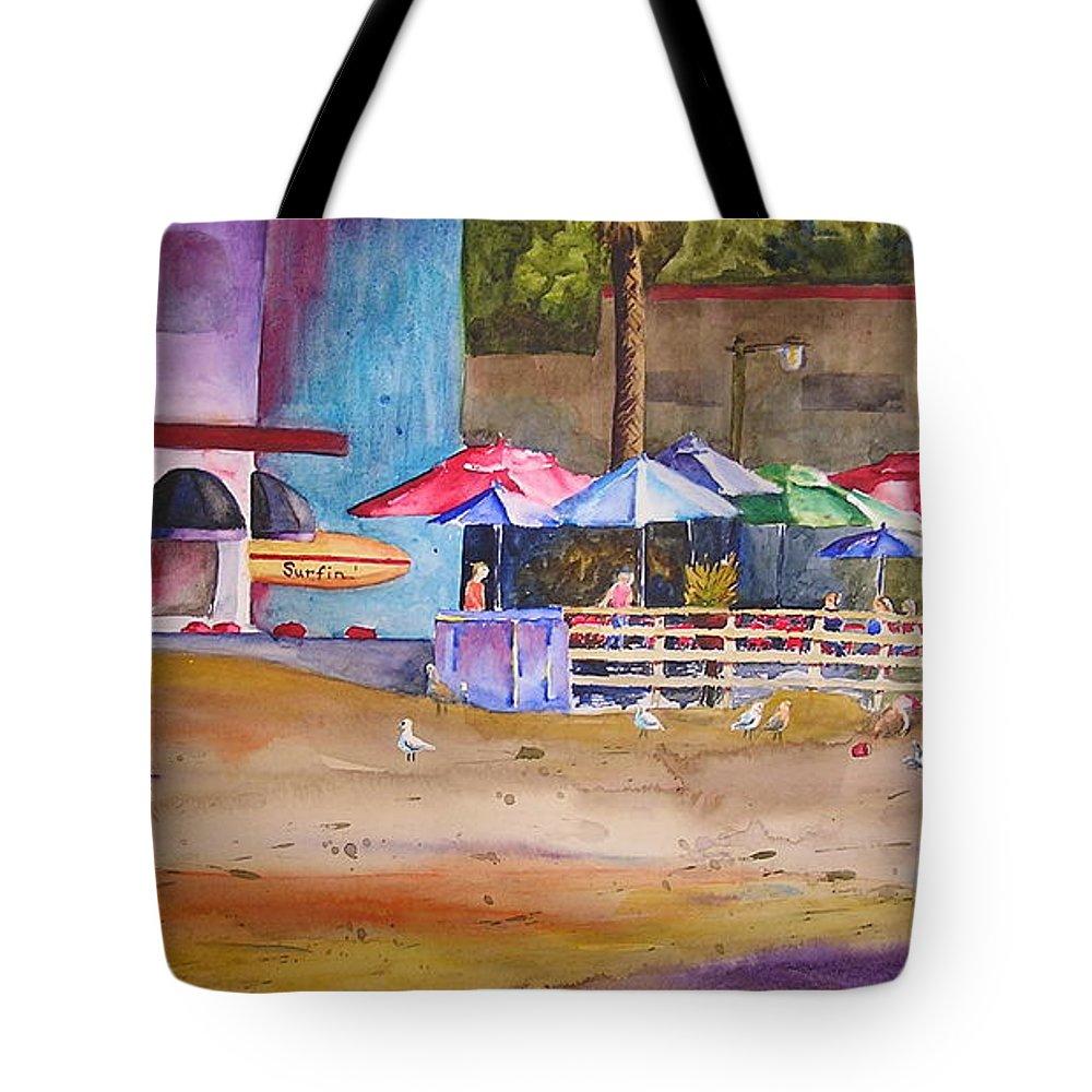 Umbrella Tote Bag featuring the painting Zelda's Umbrellas by Karen Stark