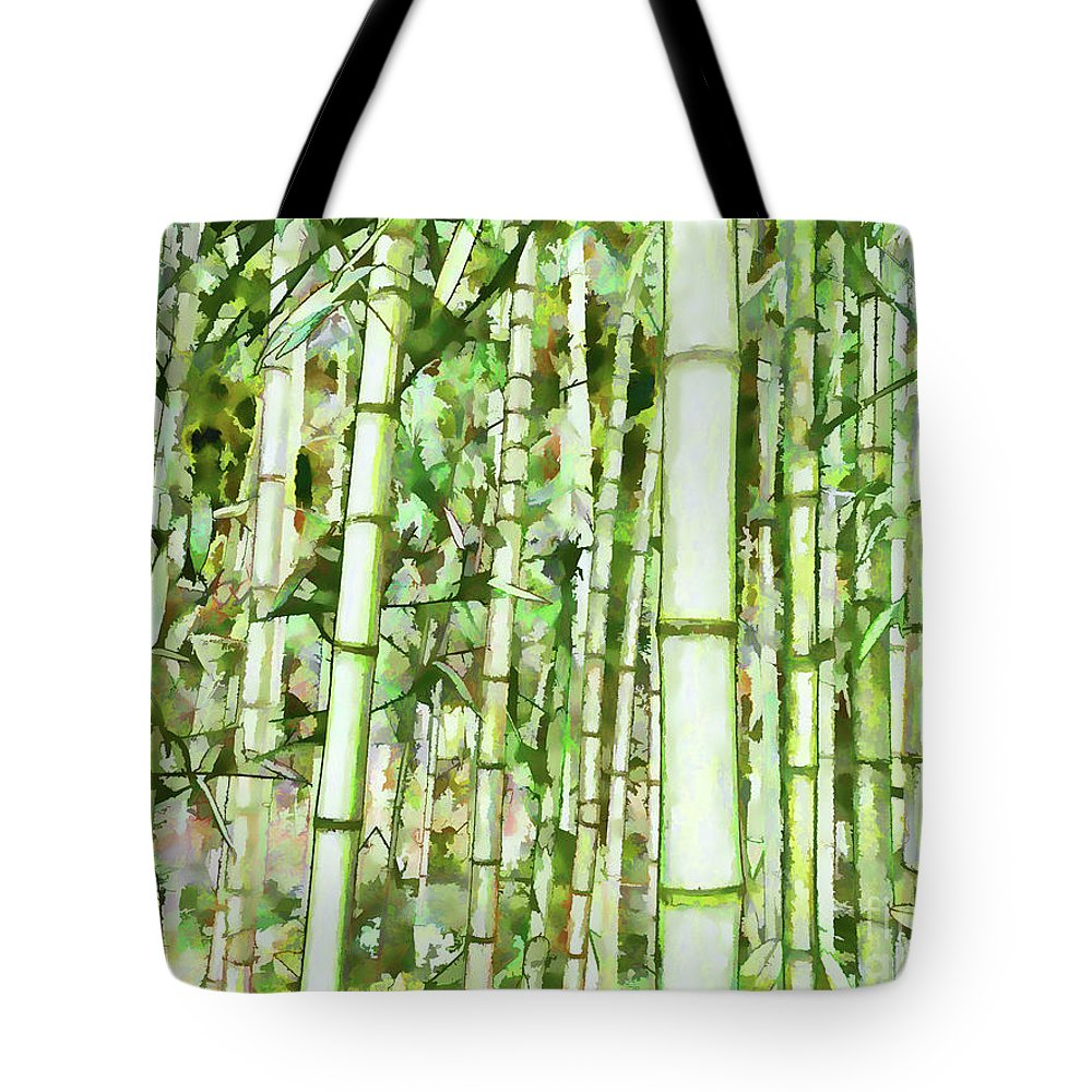 Zen Bamboo Forest Tote Bag featuring the painting Zen Bamboo Forest by Jeelan Clark