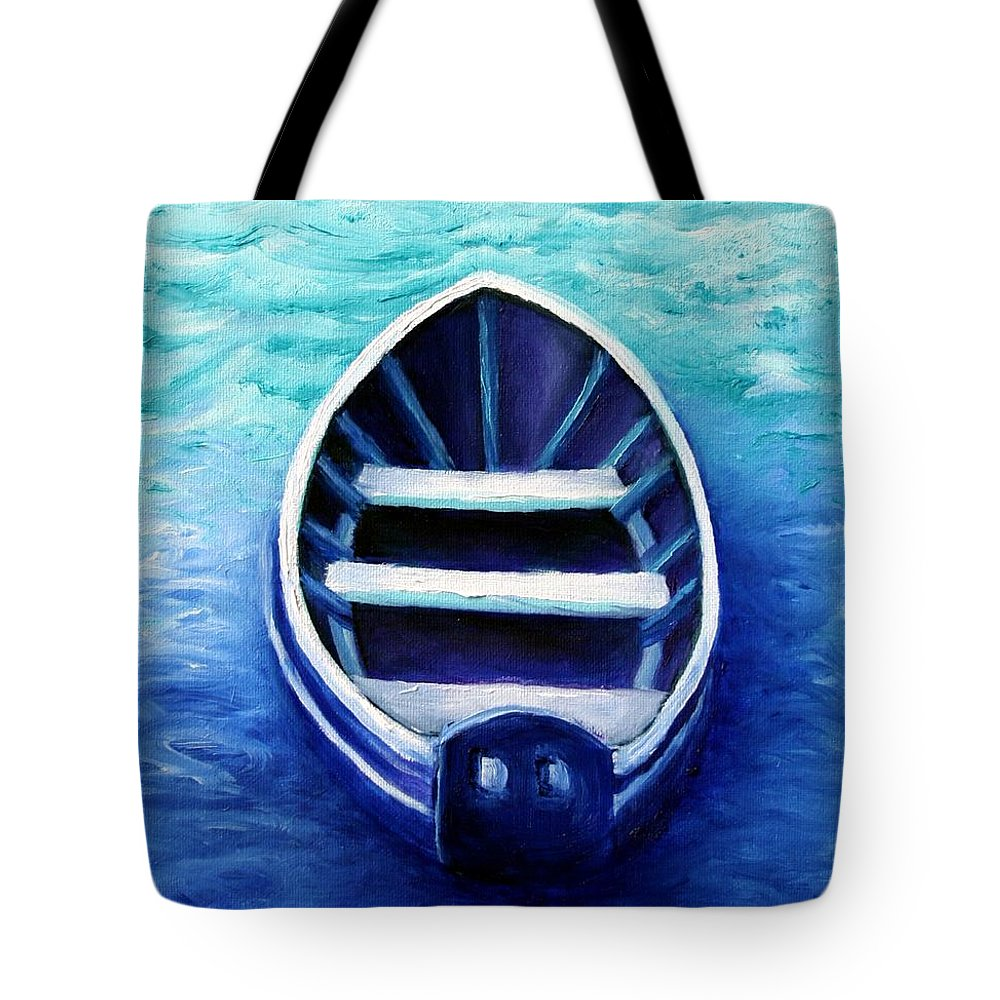 Boat Tote Bag featuring the painting Zen Boat by Minaz Jantz