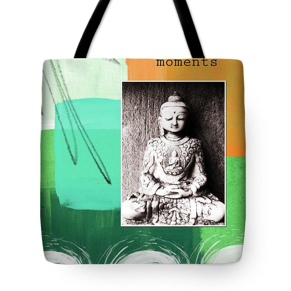 Zen Tote Bag featuring the mixed media Zen Moments by Linda Woods