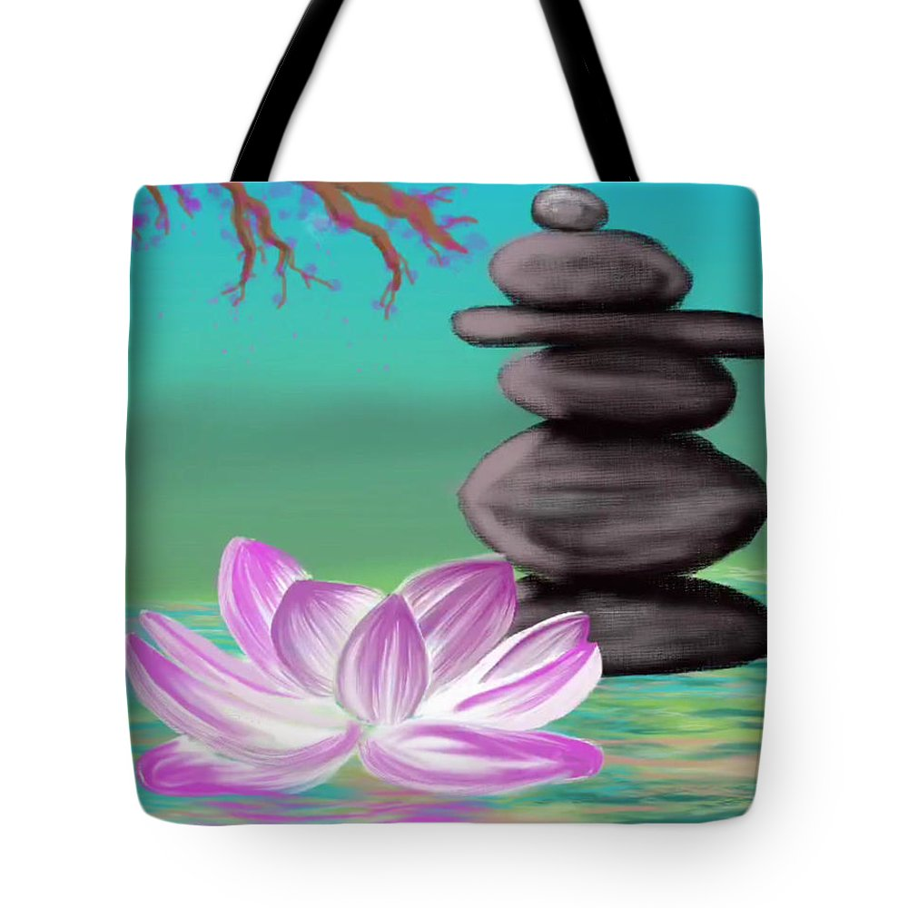 Zen Pool Tote Bag featuring the digital art Zen Pool- Turquoise by Diana Riukas