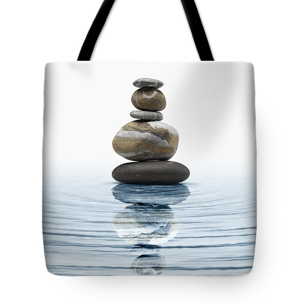 Abstract Tote Bag featuring the photograph Zen Stones In Water by Bombaert Patrick