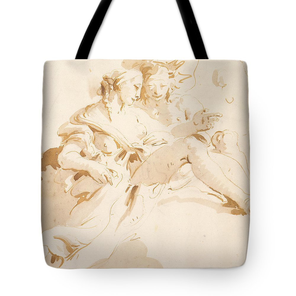 Zephyr And Flora Tote Bag featuring the drawing Zephyr And Flora by Tiepolo