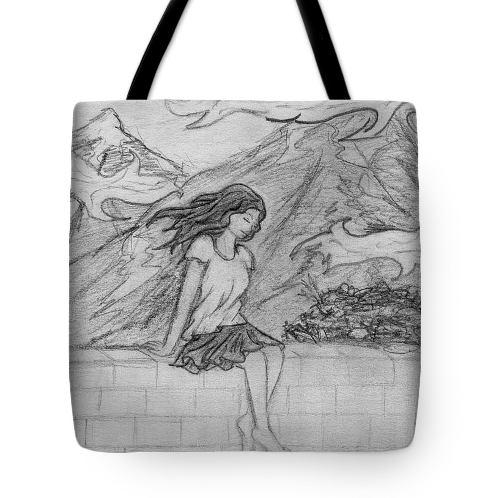 Wind Tote Bag featuring the drawing Zephyr by Desiree D'Arnall