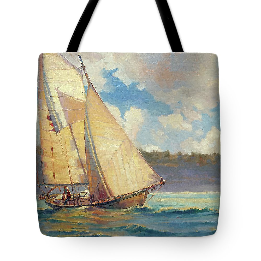 Sailboat Tote Bag featuring the painting Zephyr by Steve Henderson