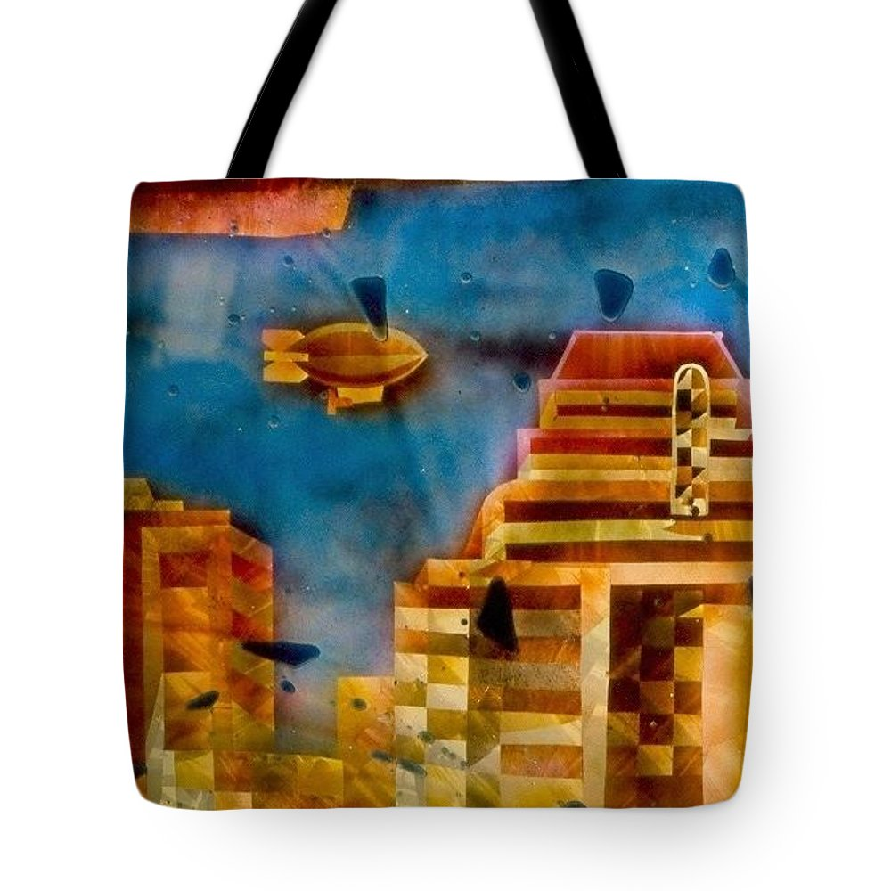 Landscape Tote Bag featuring the painting Zepplins Detail by Rick Silas