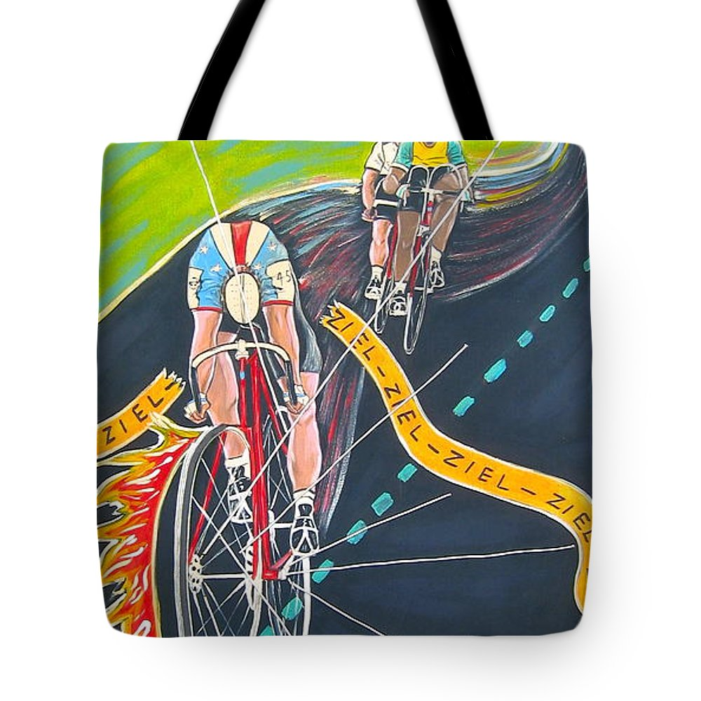 Biking Tote Bag featuring the painting Ziel by V Boge