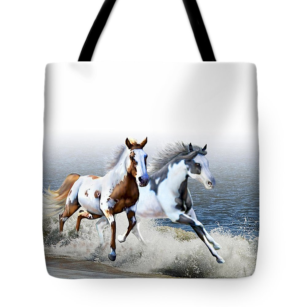 Paint Horses Tote Bag featuring the digital art Ziggy's And Annie's Beach Run by Barbara Hymer