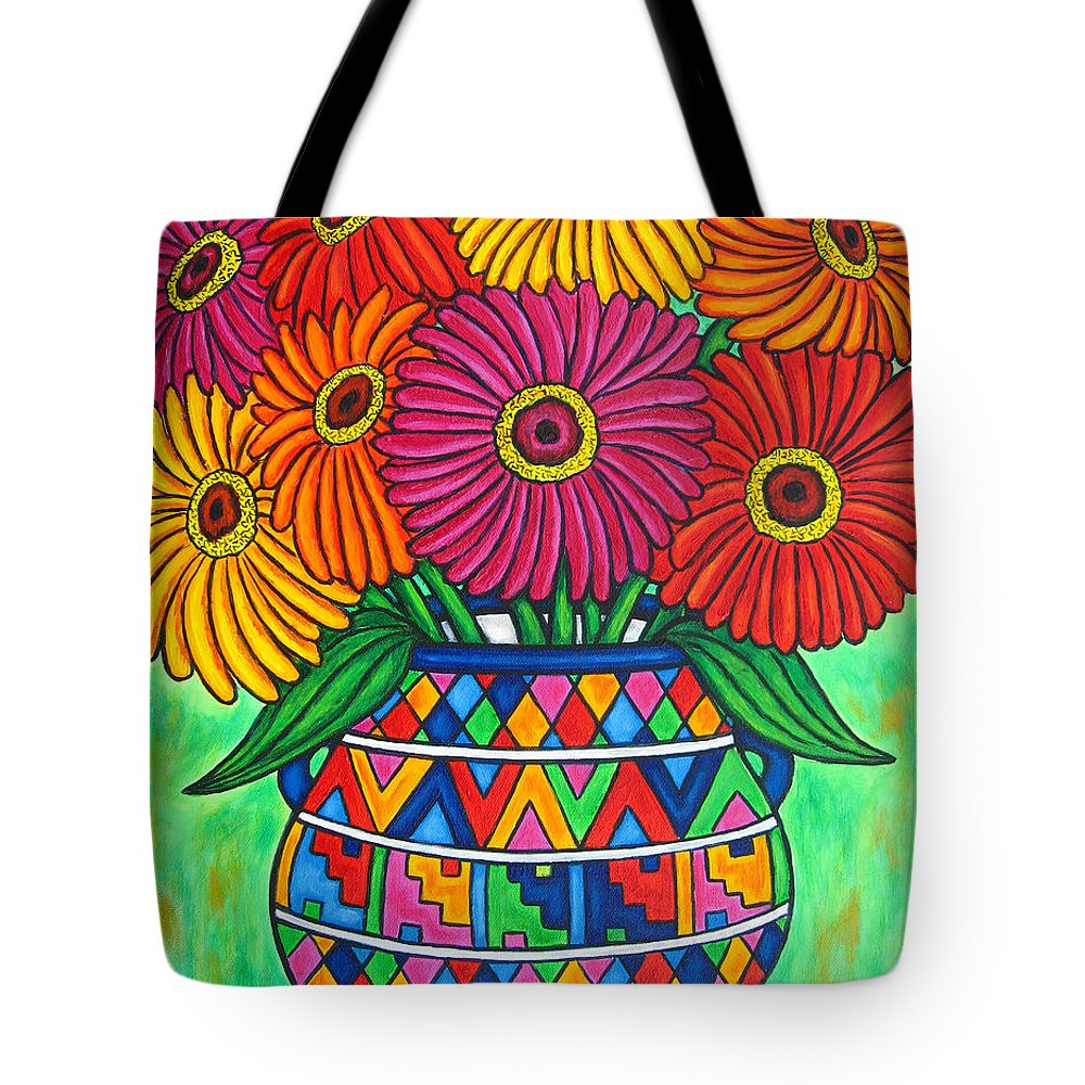 Zinnia Tote Bag featuring the painting Zinnia Fiesta by Lisa Lorenz