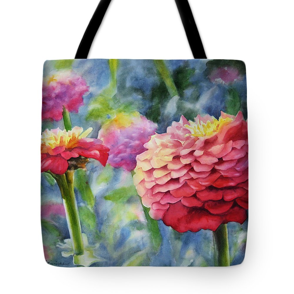 Zinnia Tote Bag featuring the painting Zinnias by Sue Zimmermann