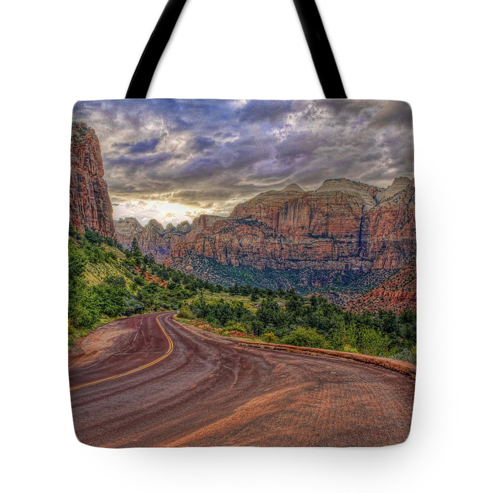 Hdr Zion National Park Clouds Roadtrip Tote Bag featuring the photograph Zion National Park by Mark Andrews