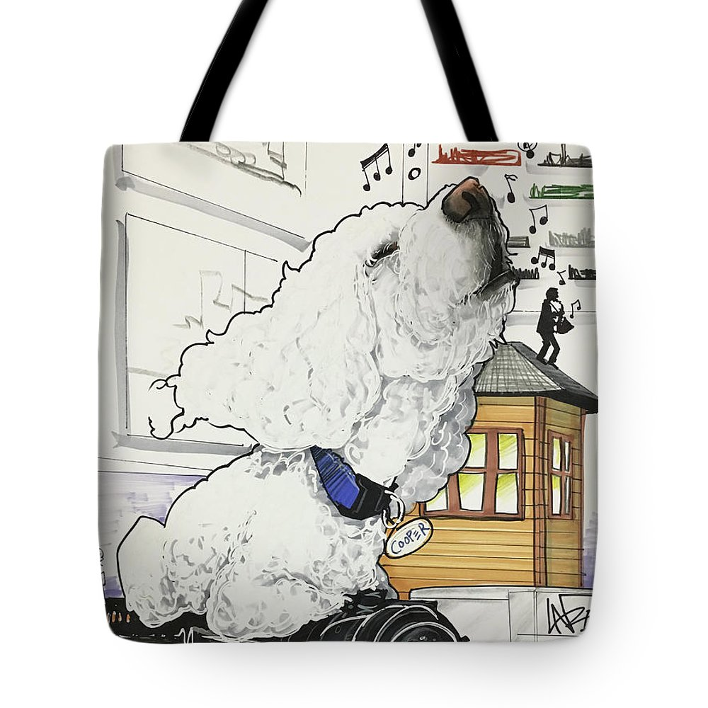 Pet Portrait Tote Bag featuring the drawing Zito 7-1460 by John LaFree