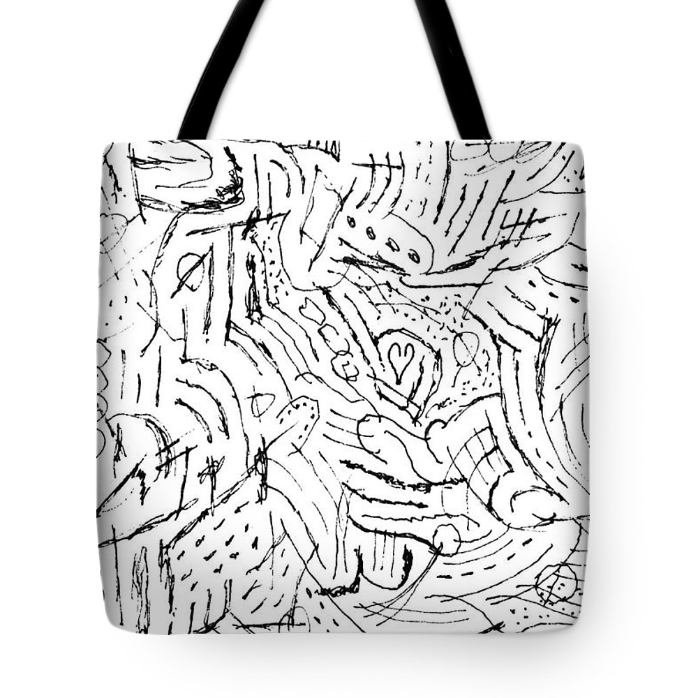Mazes Tote Bag featuring the drawing Zodiac by Steven Natanson