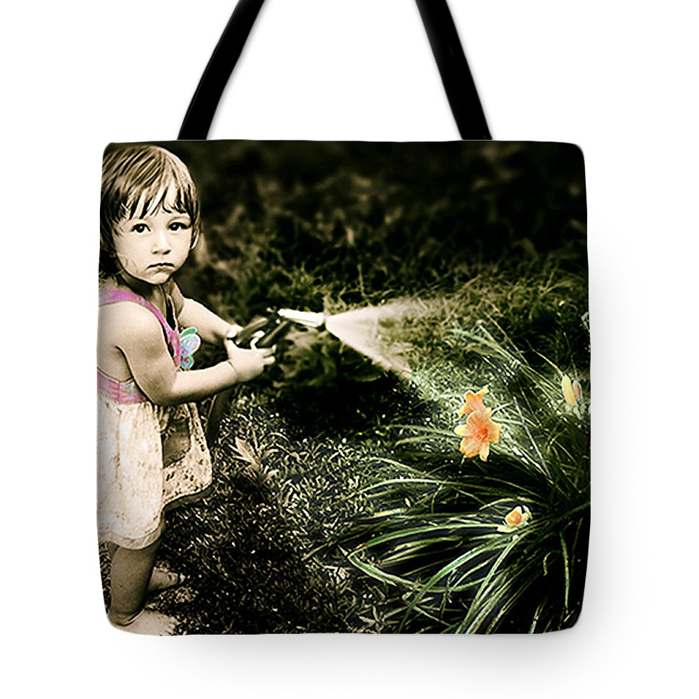Children Tote Bag featuring the photograph Zoe Waters The Flowers by Karen W Meyer