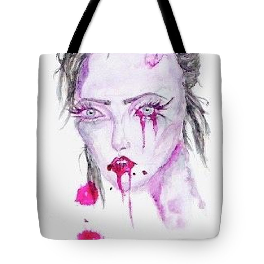 Blood Zombie Girl Tote Bag featuring the painting Zombie by Alyssa Torres