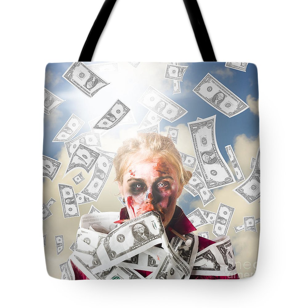 Rich Tote Bag featuring the photograph Zombie With Crazy Money. Filthy Rich Millionaire by Jorgo Photography - Wall Art Gallery