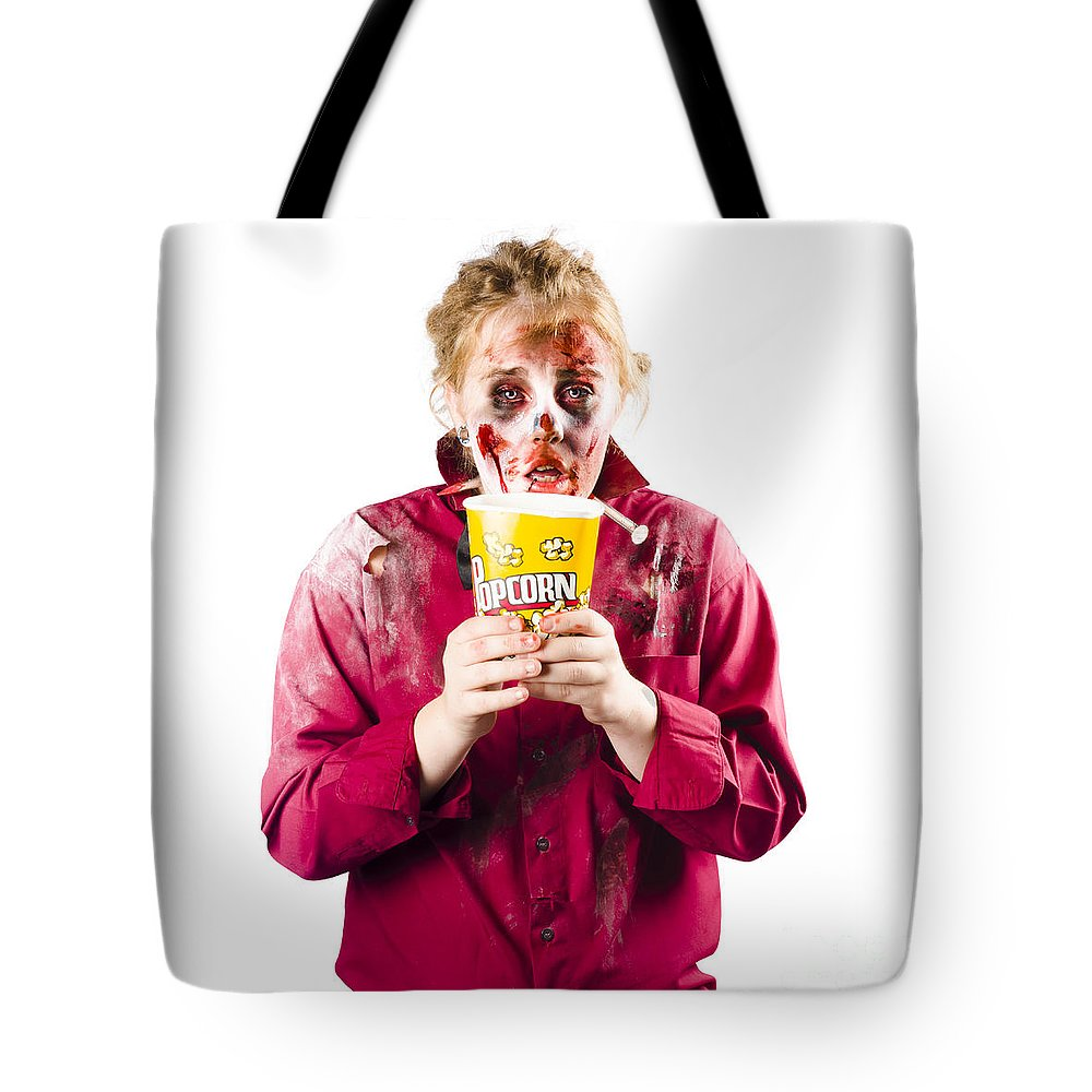 Horror Tote Bag featuring the photograph Zombie Woman With Popcorn by Jorgo Photography - Wall Art Gallery