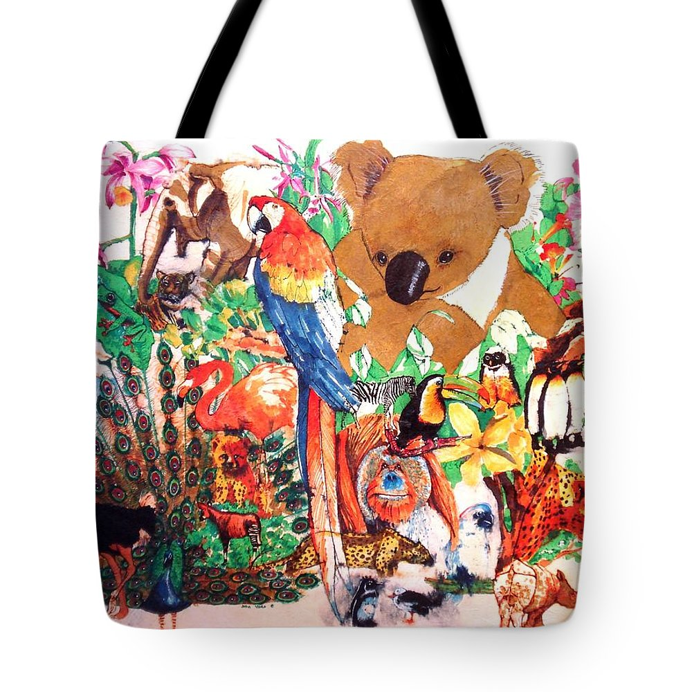 Zoo Tote Bag featuring the painting Zoo Animals by John YATO