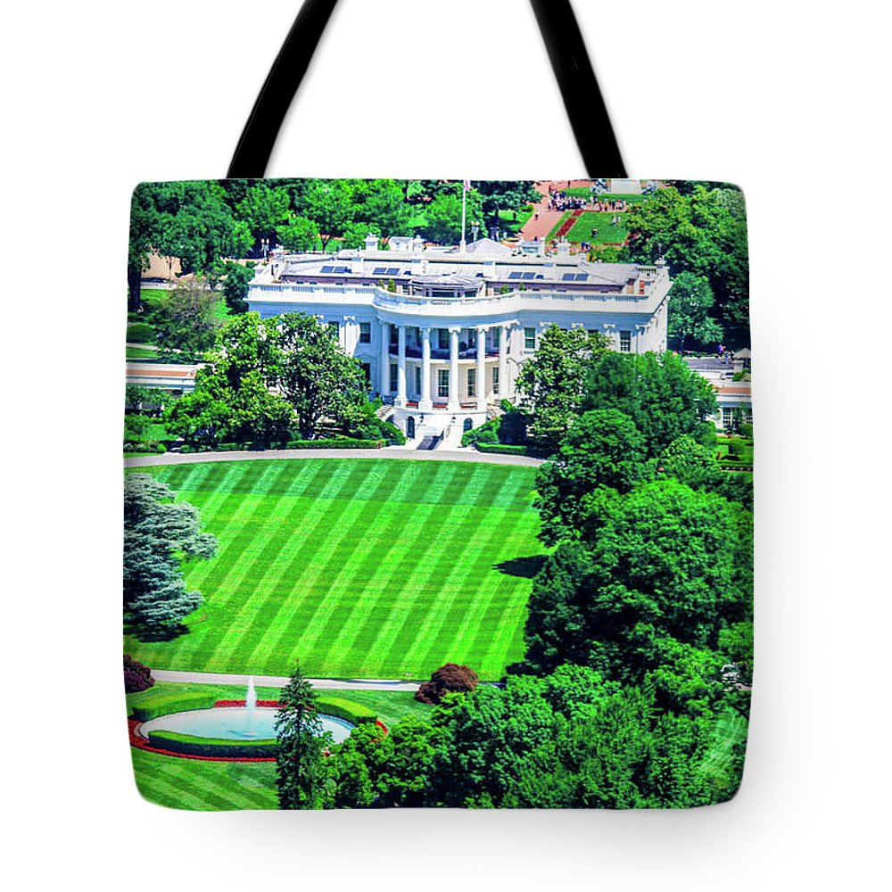 This Is A Photo From The Washington Monument Of The White House Tote Bag featuring the photograph Zoomed In Photo Of The White House by William Rogers