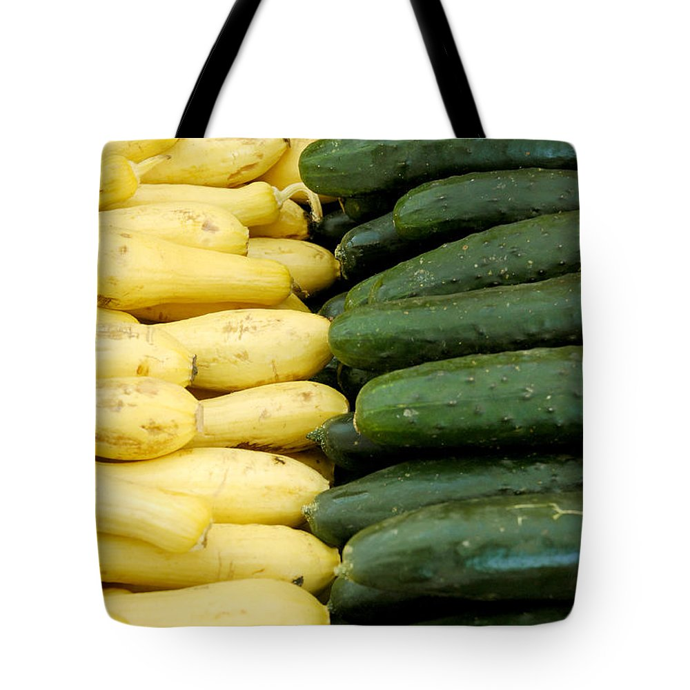 Zucchini Tote Bag featuring the photograph Zucchini On Display At Farmers Market 2 by Micah May