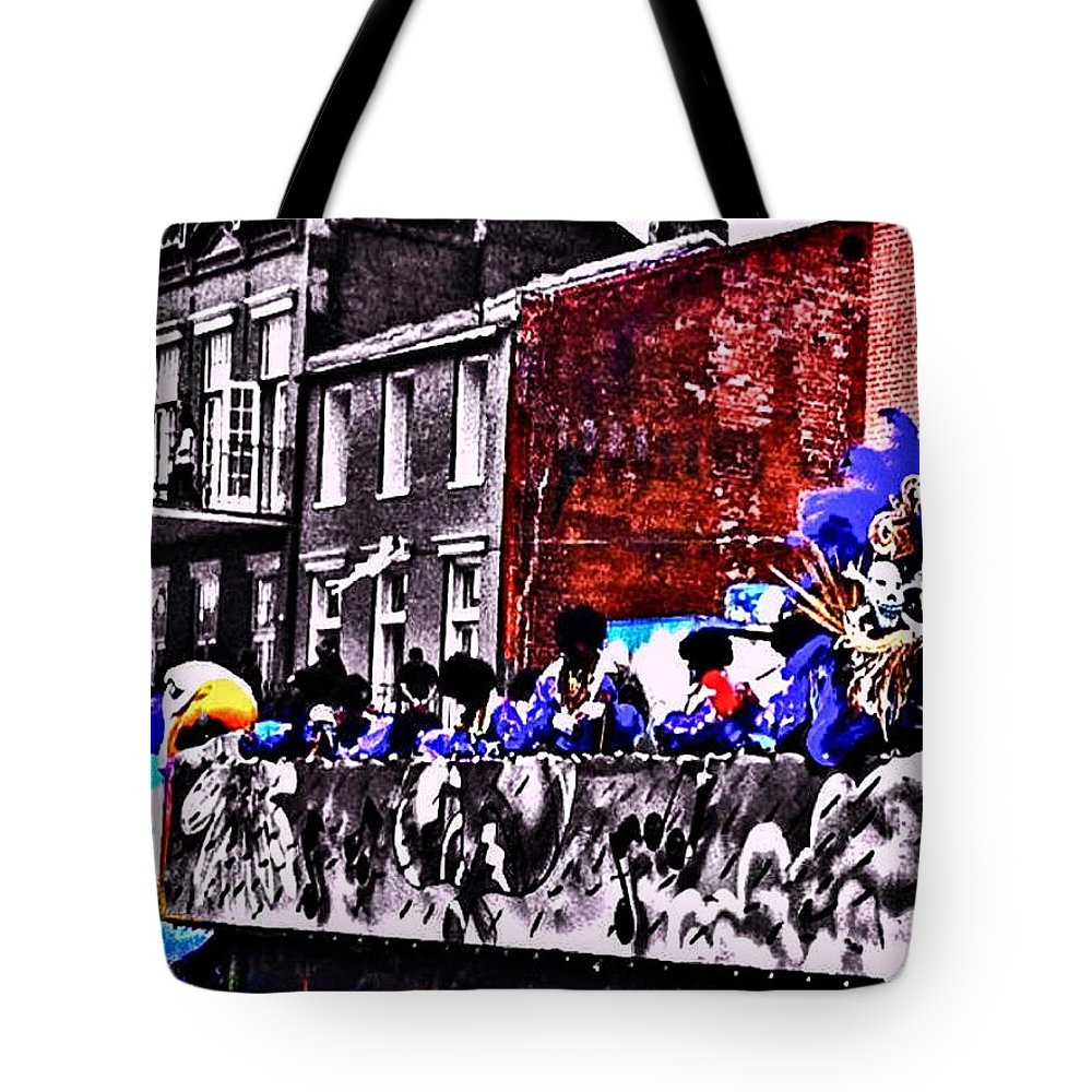 Mardi Gras Tote Bag featuring the photograph Zulu Krewe In Red And Blue by Paula Baker