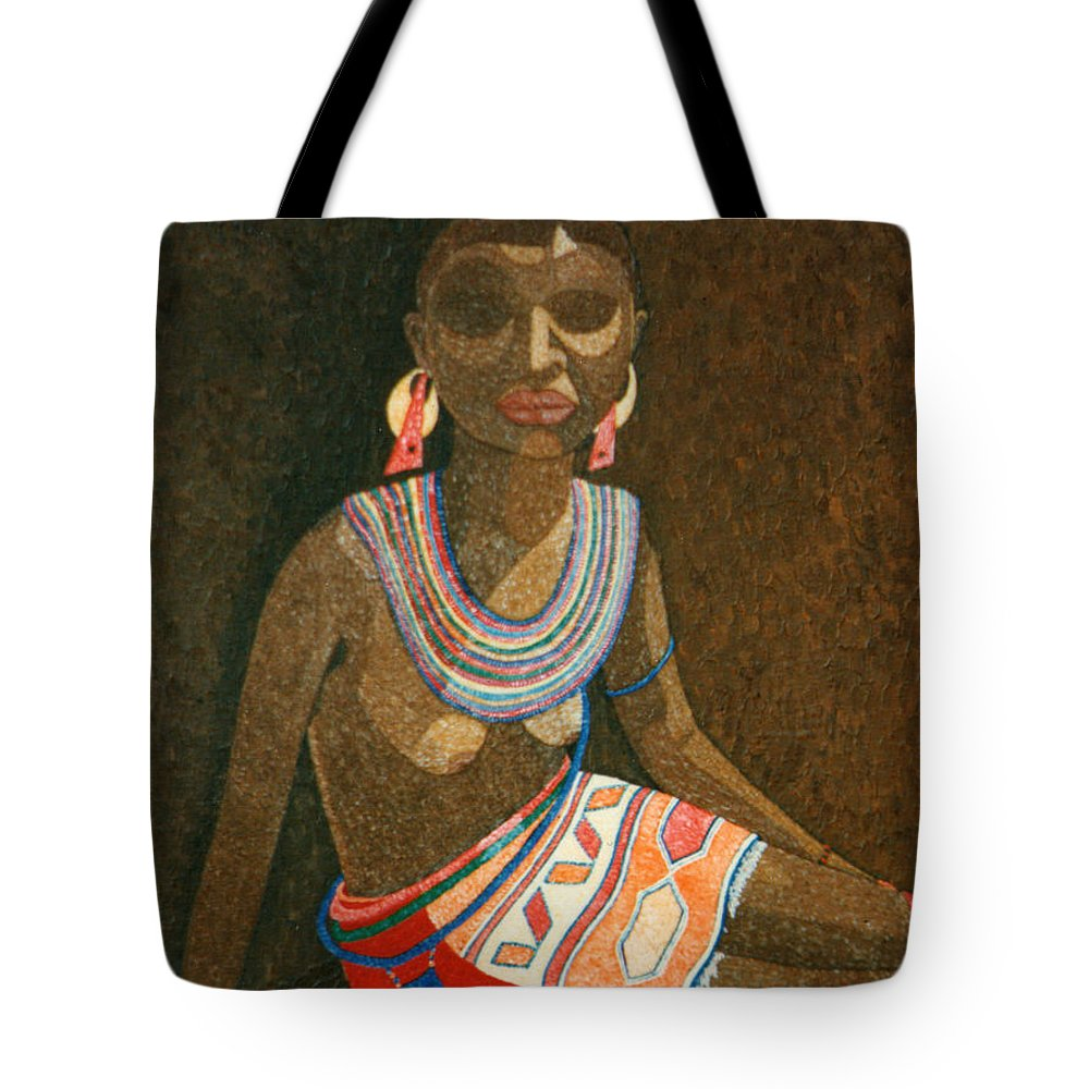 Zulu Woman Tote Bag featuring the painting Zulu Woman With Beads by Madalena Lobao-Tello