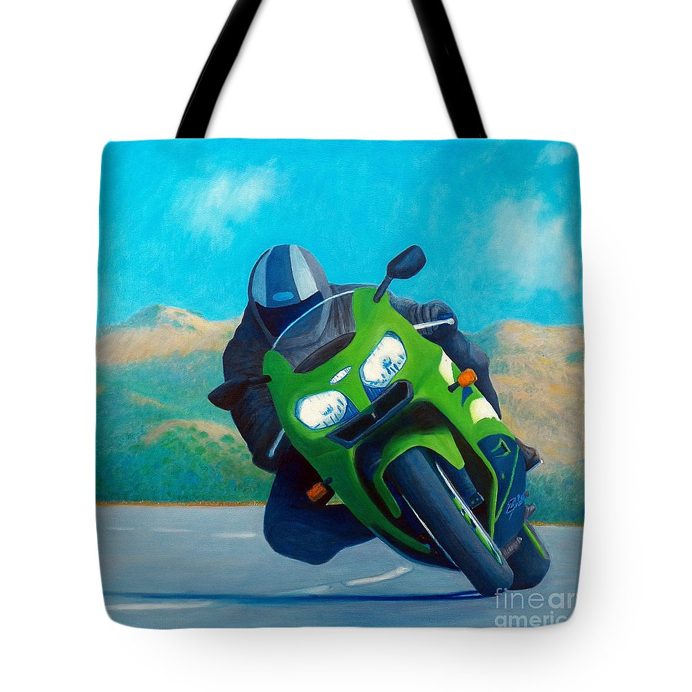 Motorcycle Tote Bag featuring the painting Zx9 - California Dreaming by Brian Commerford