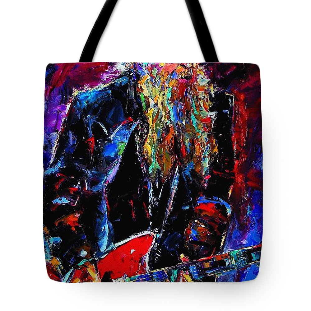 Music Tote Bag featuring the painting Zz Top Billie Gibbons by Debra Hurd