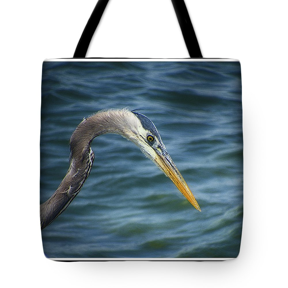 Great Blue Heron Tote Bag featuring the photograph 051919-1 by Mike Davis